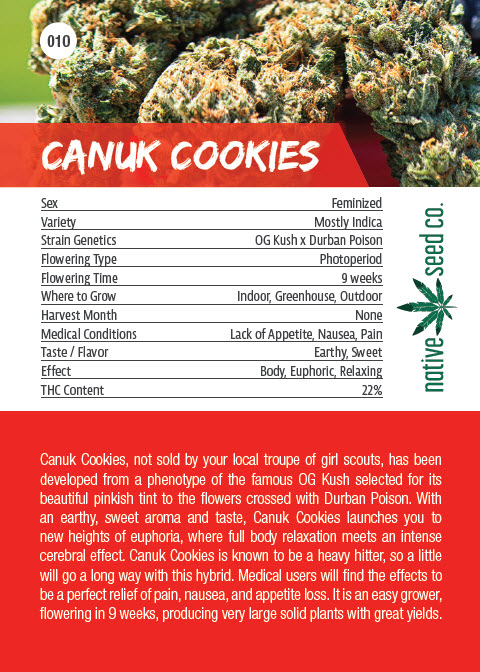 Native Seed Co. Collector Card - Canuck Cookies - Back