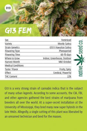 Back of Collector Seed Card by Native Seed - G13 FEM