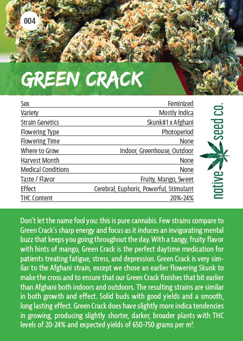 Back of Collector Seed Card by Native Seed - Green Crack