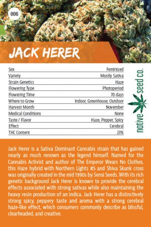 Back of Collector Seed Card by Native Seed - Jack Herer