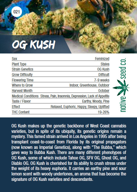 Native Seed Co. Collector Card - OG Kush - Back