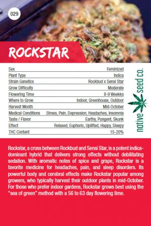 Native Seed Co. Collector Card - Rockstar - Back