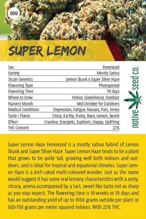 Native Seed Co. Collector Card - Super Lemon - Back