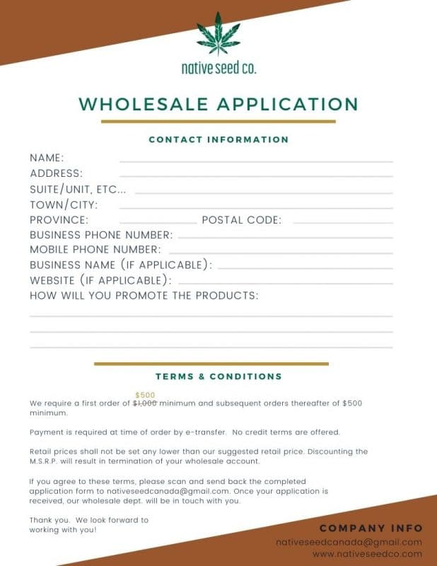 picture of native seed co.'s wholesale application